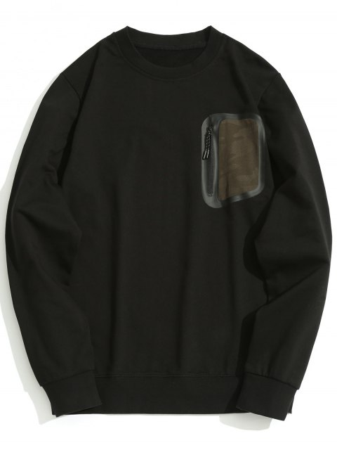 affordable Zippered Pocket Crew Neck Sweatshirt - BLACK L Mobile