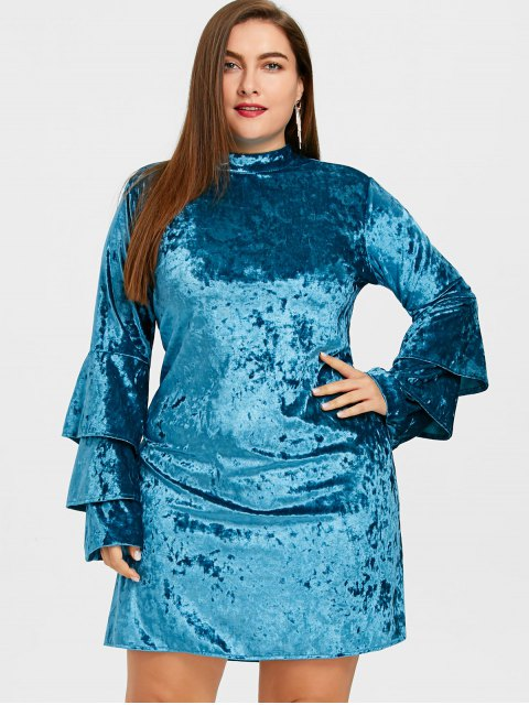 best Tiered Sleeve Plus Size Velvet Dress - LAKE BLUE 3XL Mobile