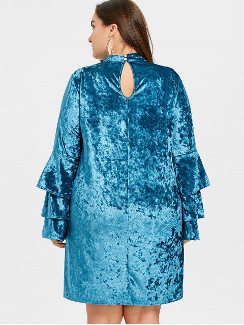 online Tiered Sleeve Plus Size Velvet Dress - LAKE BLUE 4XL Mobile