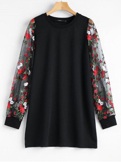 Floral Mesh Panel Longline Sweatshirt - Schwarz S Mobile