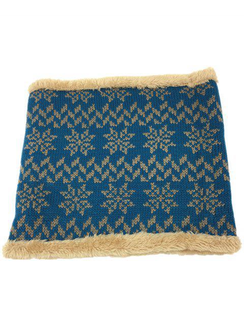 Estilo étnico al aire libre espesar bufanda de eternidad de punto - Azul  Mobile