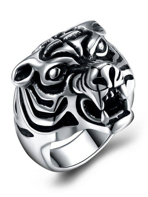 Bague en acier titane sculpté tigre de style gothique - Noir 10 Mobile