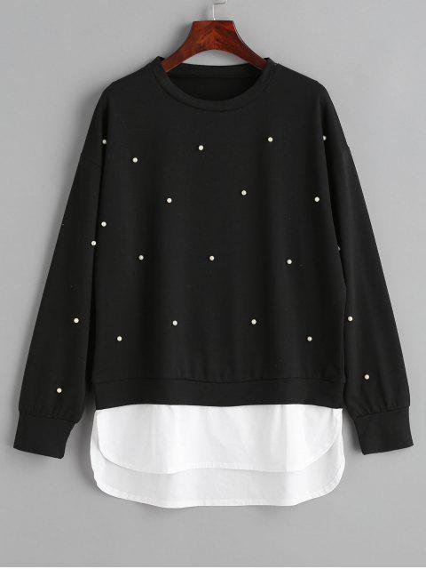 shops Two Tone Panel Faux Pearls Sweatshirt - BLACK S Mobile