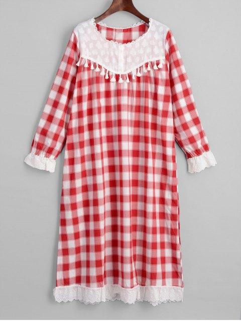 outfit Plaid Long Sleeve Nightdress - CHECKED ONE SIZE Mobile