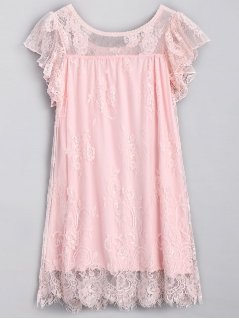 shop Scalloped Lace Nightdress - PINK ONE SIZE Mobile