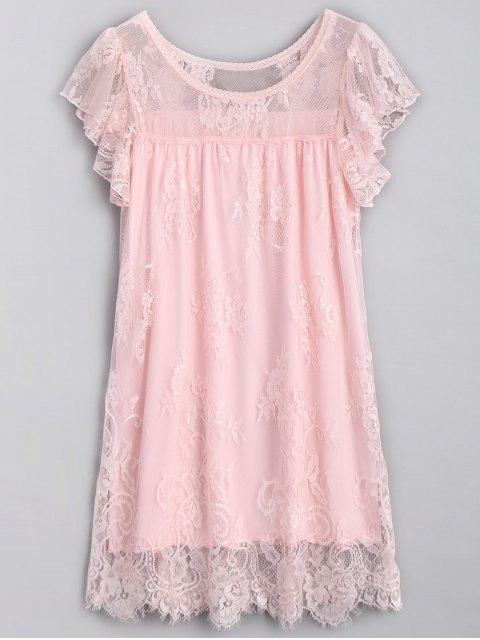 Scalloped Lace Nachthemd - Pink Eine Größe Mobile