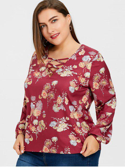 Blusa de tirantes floral con tiras - Floral 5XL Mobile