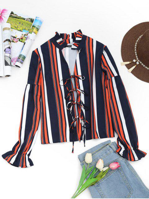 hot Plunging Neck Tied Front Striped Blouse - STRIPE S Mobile
