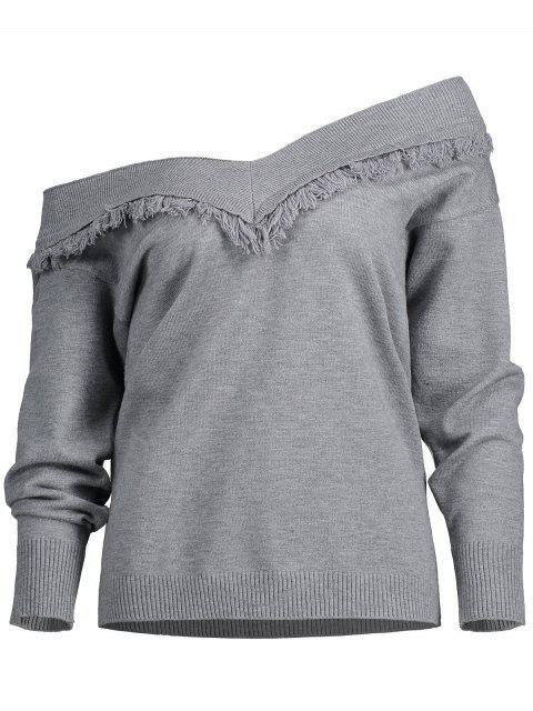 Pullover borlas del hombro del suéter - Gris L Mobile