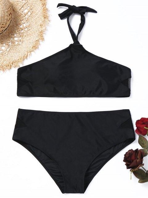 unique Halter Mesh Panel Plus Size Bikini Set - BLACK 2XL Mobile