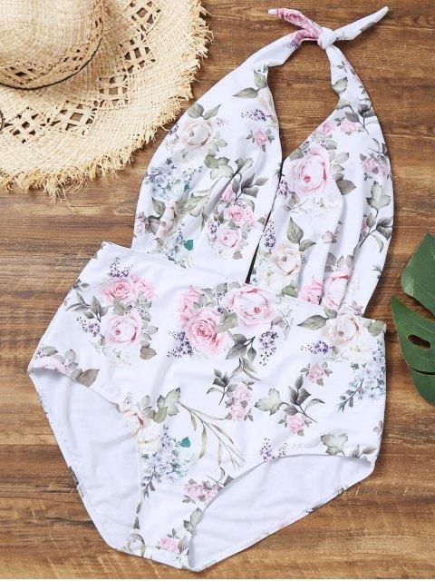 Maillot de Bain Floral de Grande Taille avec Col Halter - Blanc XL Mobile