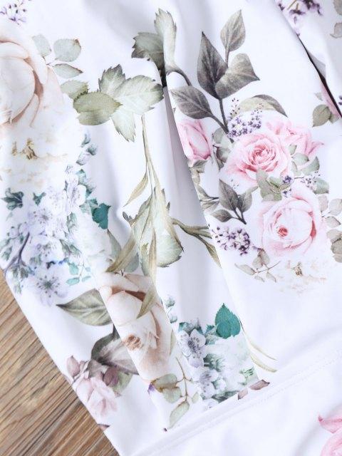Maillot de Bain Floral de Grande Taille avec Col Halter - Blanc 3XL Mobile