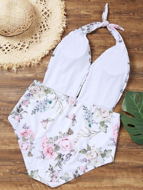 latest Halter Floral Plus Size Bathing Suit - WHITE XL Mobile