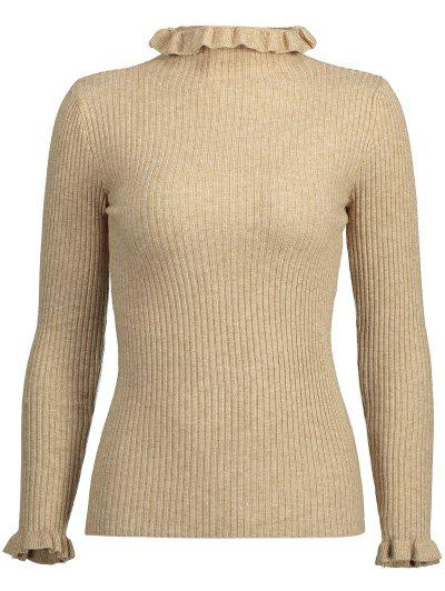 Plain Ruffle Collar Ribbed Knitwear