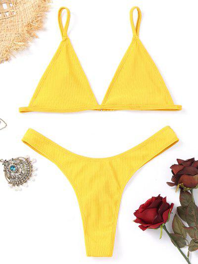 Unlined Thong Bikini Set - Yellow L