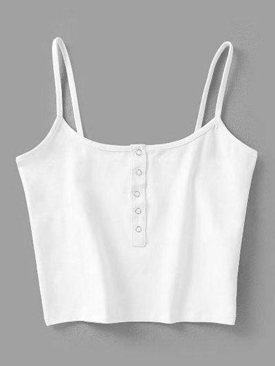 Cropped Snap Button Tank Top - White S