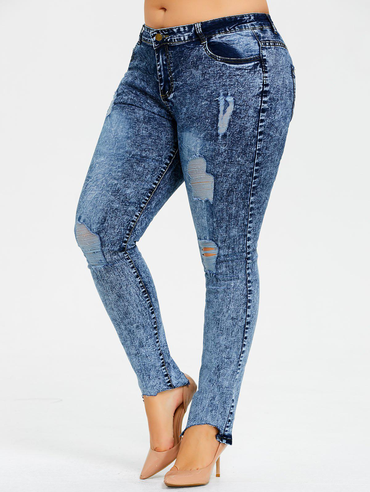 Plus Size Snow Wash Ripped Jeans 239178701