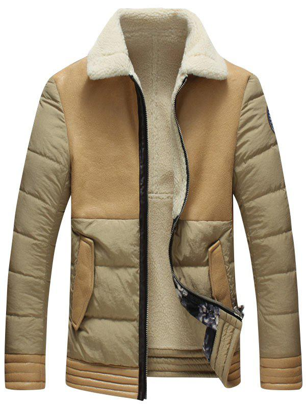 Borg Collar Faux Leather Panel Shearling Jacket