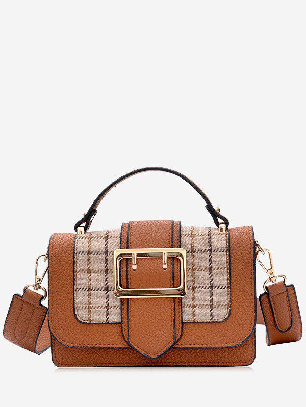 Plaid Buckle Strap Crossbody Bag With Handle
