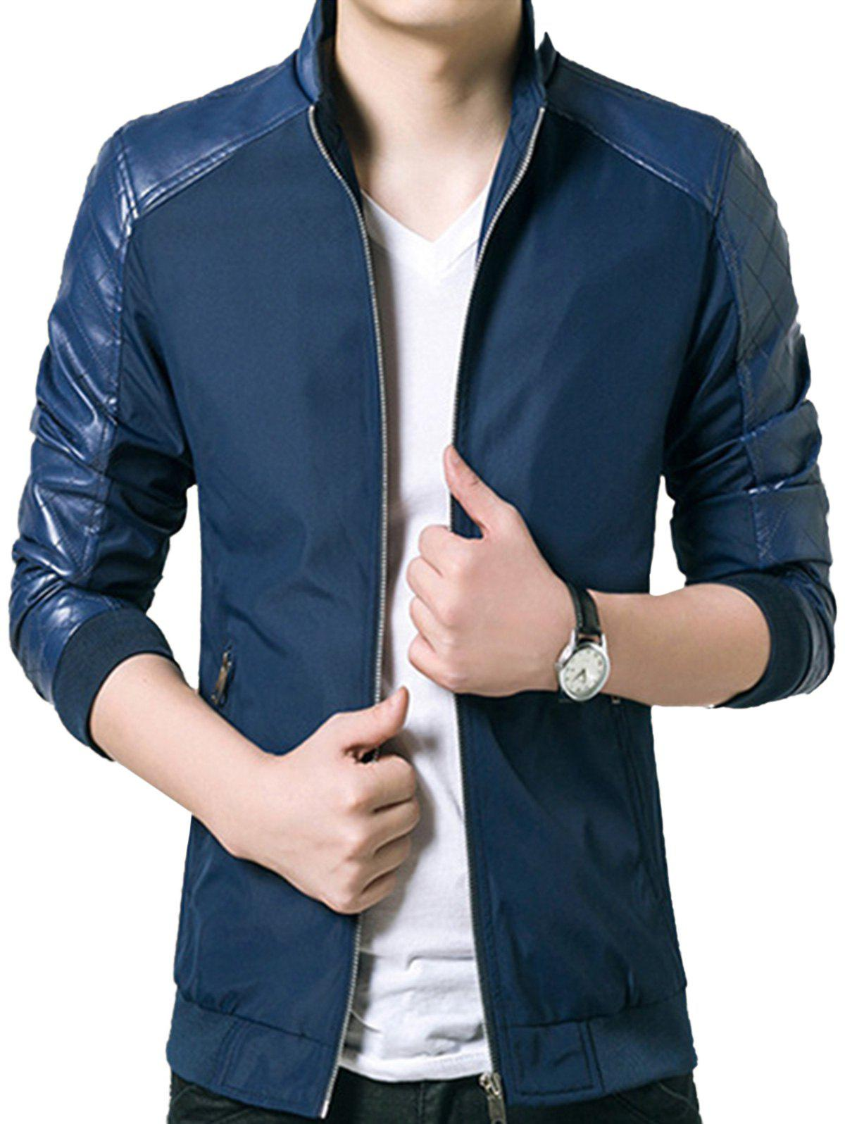 Artificial Leather Panel Zip Up Jacket