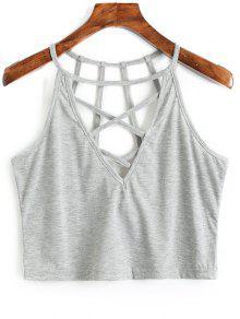 Camiseta Sin Mangas Con Tirantes Cruzados De Criss Cross - Gris S