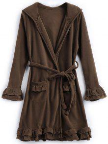 Buy Fleece Ruffle Hooded Night Robe - COFFEE ONE SIZE