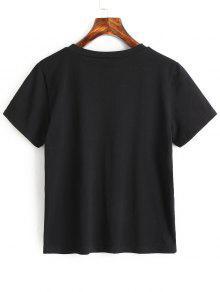 M Algod Camiseta Bordados Apliques De 243;n Negro YRxgYqpn