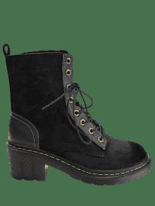 couture chunky talon lacets bottes noir bottes et bottines 39 zaful. Black Bedroom Furniture Sets. Home Design Ideas