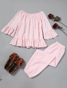 Strukturierte Pyjama-Set Mit Rüschen - Pink