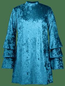 Lago De Con Manga Y Terciopelo Xl Tallas Azul Vestido Grandes x0qCTfwT6