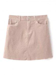 Zaful Frayed Hem Corduroy Mini Skirt - Nude Pink L