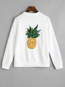 Abzeichen Patched Pailletten Ananas Zurück Sweatshirt - Weiß Xl
