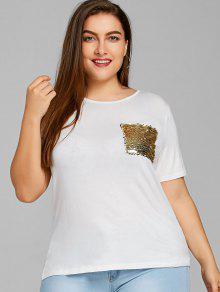 Sequined Pocket Plus Size T-shirt - Dourado Claro 5xl