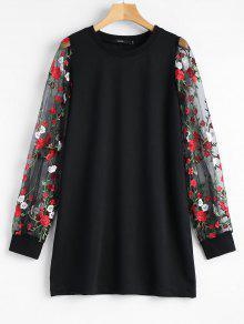 سويت شيرت بفتحات طويلة شبكي طباعة الأزهار - أسود L
