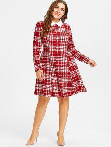 28% OFF] 2019 Plus Size Plaid Dress In WINE RED | ZAFUL
