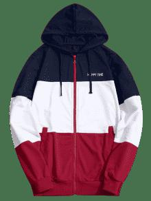Up Color Hoodie Zip Xl Block zzqRWP