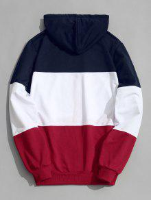Block Color Zip Up Hoodie Xl Y08d0w