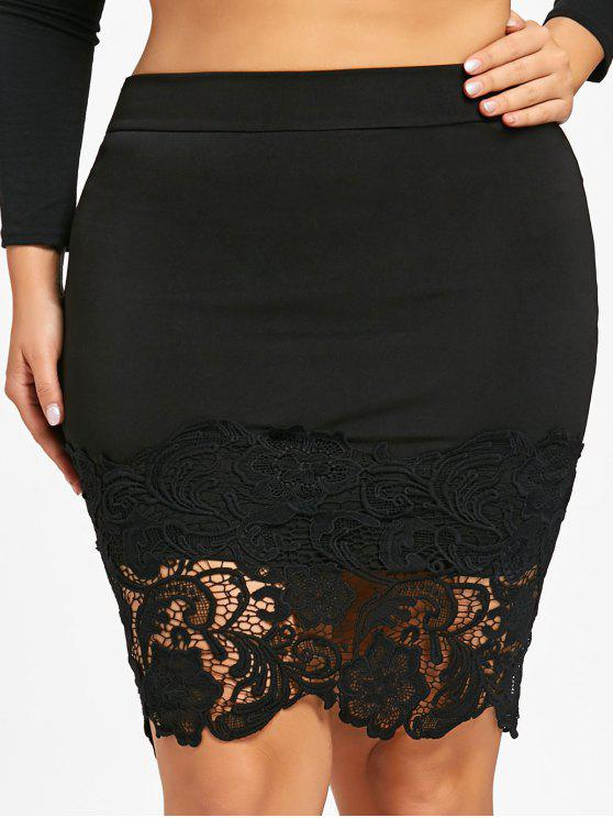 e5f9321667c 18% OFF  2019 Plus Size Lace Hem Bodycon Skirt In BLACK XL