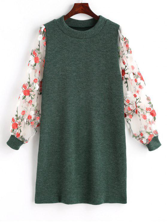 buy Mesh Panel Floral Mini Knitted Dress - GREEN M
