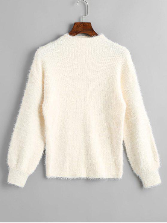 Schrägstrich Einfacher Pullover - Beige (Weis) Eine Größe