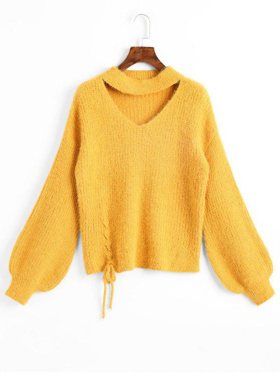 online Lantern Sleeve Lace Up Keyhole Sweater - YELLOW ONE SIZE