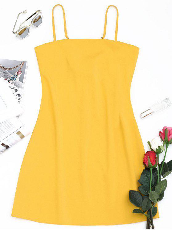 Tied Bowknot Voltar Vestido Mni Cami - Amarelo L