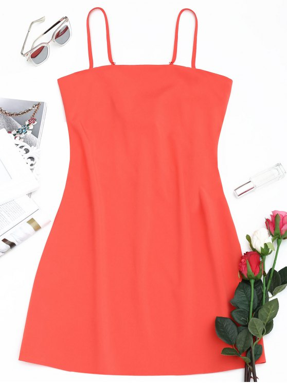 women's Tied Bowknot Back Mni Cami Dress - WATERMELON RED L