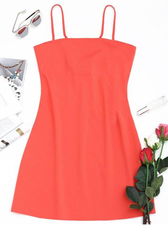 Schliefe am Rücken Mini Cami Kleid - Wassermelone-Rot M