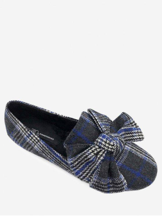 new Bow Houndstooth Tartan Tweed Ballet Flats - BLUE 40