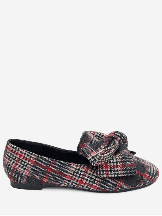 Bow Houndstooth Tartan Tweed Ballerinas - Rot 40
