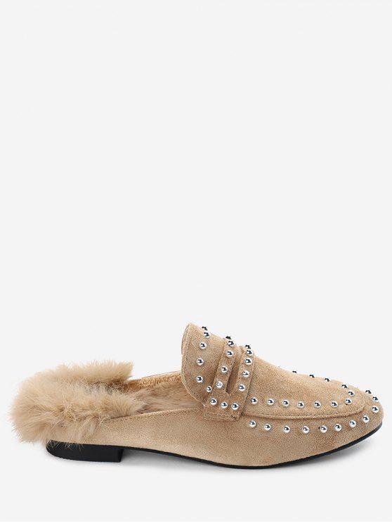 women Faux Fur Rivets Flats - APRICOT 38