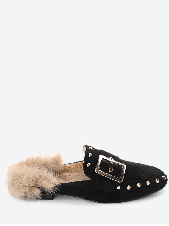 shops Buckle Strap Rivets Faux Fur Flats - BLACK 37
