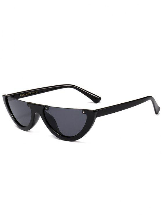 latest Anti-fatigue Half Frame Cat Eye Sunglasses - BRIGHT BLACK+GREY