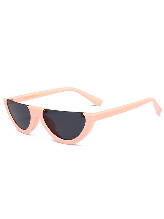 trendy Anti-fatigue Half Frame Cat Eye Sunglasses - BLACK AND PINK
